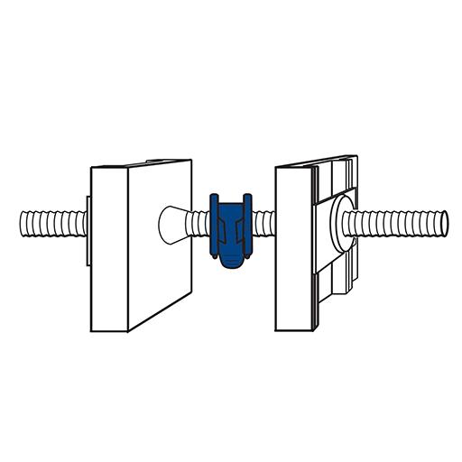 Detaliu de montaj al inelului expandabil Conector cu bandă de fixare pe exteriorul tiranților de cofrare, la momentul montării plăcilor de cofrare