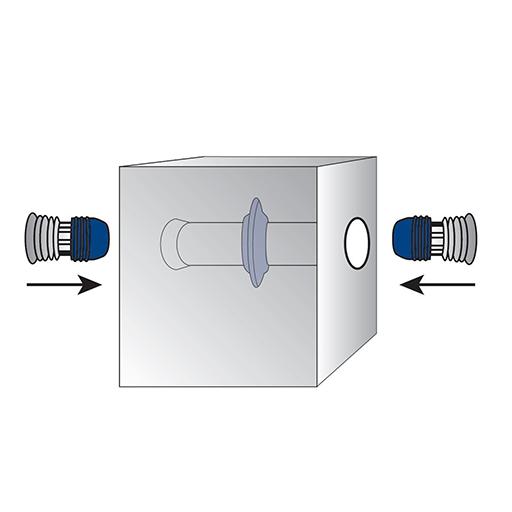 Detaliu de montaj al profilului expandabil Sealing Plug în golurile distanțierelor de cofrare, la momentul după scoaterea cofrajelor