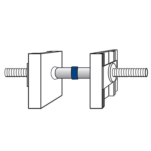 Detaliu de montaj al inelului expandabil Sealing Ring pe exteriorul distanțierului de cofrare, la momentul montării plăcilor de cofrare
